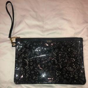 Victoria Secret Pouch- Clear with Black Lace